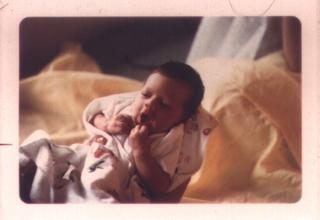 Baby Aaron yawning
